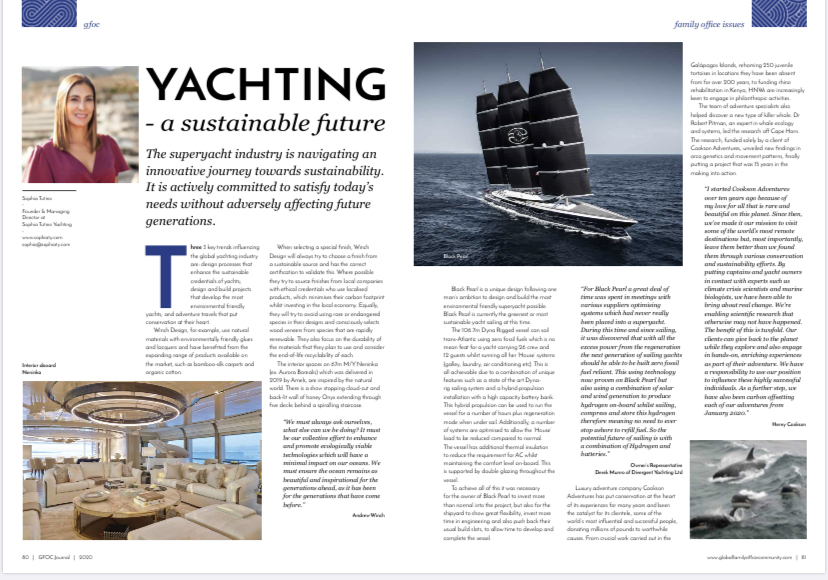YACHTING – a sustainable future by Sophia Tutino for the GFOC Journal Vol2